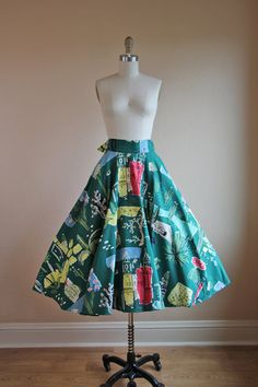 1950s Atomic Bark Cloth Circle Skirt  Vintage 40s by jumblelaya, $178.00
