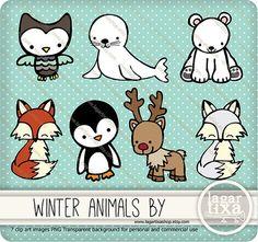 Winter Snow Animals Clip art Cute Owl Seal by LagartixaShop, $5.00