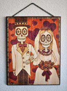 Day of the Dead inspired wood burning of wedding by ARTholomew, $400.00