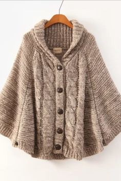 Hooded Batwing Single Button Cable Short Cardigan