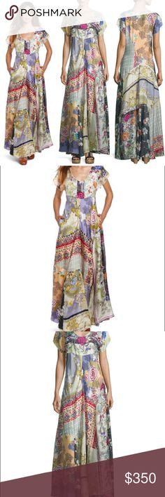 "Johnny Was Dolce Vivo Maxi Dress Coachella Boho Size-SMALL   BRAND NEW WITH TAGS    Johnny Was Collection ""Dolce Vivo"" printed patch dress WITH SLIP.  Scoop neckline. Short sleeves. Side slip pockets. A-line silhouette. Pullover style. Silk Johnny Was Dresses"