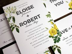 A set of  wedding printables featuring vintage yellow and white roses. Easy to make. Just enter your wedding text into the PDF templates, print and cut!