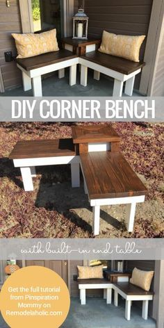 This DIY corner bench has a built-in end table, perfect for a front porch welcoming display or back patio seating for a BBQ or party! Learn to build it with the tutorial from Pinspiration Mommy on Remodelaholic.com