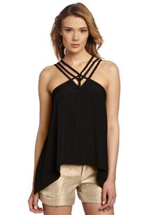 BCBGMAXAZRIA Women is Kasia Strappy Draped Hem Top, Black, Small