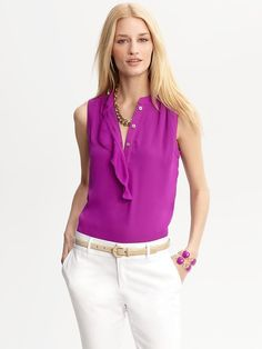 BR ruffle front blouse in stargazer fuschia