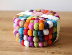 NomiMakes. www.etsy.com/listing/186513923/rainbow-felt-ball-coasters-set-of-4