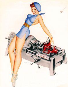 Vintage Gal: RIDGID Tools Ads by George Petty C. 1950's
