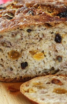 No Knead Fruit and Nut Bread recipe from Jenny Jones (JennyCanCook.com) - Easier, faster no knead whole wheat bread. #bread #jennyjones #nokneadbread