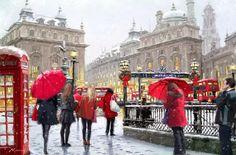 As Cores Da Arte: Richard Macneil Pinturas Em Tom Pastel, Creation Photo, Umbrella Art, Walking In The Rain, Paint By Number Kits, City Scene, Christmas Scenes, Cross Paintings, Art Moderne