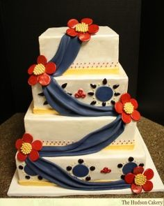 Square Wedding Cake with Navy Sash, Sugar Jewels and Edible Jeweled brooches to coordinate with the Bride's Sari.