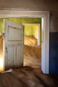 Kolmanskop is a ghost town in the Namib desert in southern Namibia, a few kilometres inland from the port town of Lüderitz. It was named after a transport driver named Johnny Coleman who, during a sand storm, abandoned his ox wagon on a small incline opposite the settlement. Once a small but very rich mining village, it is now a popular tourist destination run by the joint firm NamDeb.