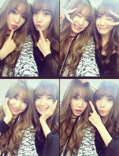 """Girls' Generation's members Tiffany and Yoona revealed their new hairstyle."""" Welcome to the fringe club"""""""
