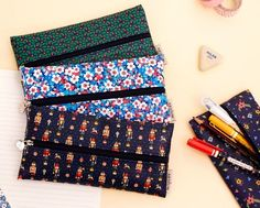Ardium Basic Pencil Case with Middle Zipper Make Up Pouch 4 Colors | eBay