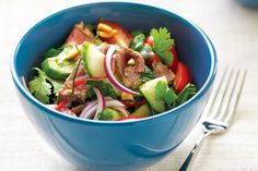Warm Thai Beef Salad recipe: This aromatic Asian salad combines lemony-flavoured coriander leaves with cool cucumber, refreshing mint and rare beef. Thai Beef Salad, Thai Salads, Asian Recipes, Healthy Recipes, Ethnic Recipes, Asian Foods, Easy Recipes, Healthy Food, Salads For A Crowd