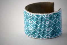 loom woven geometric turquoise & white cuff by TaraBarros on Etsy, $87.00