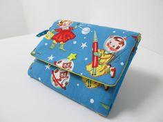 *♥ ASTRONAUTEN - PORTEMONNAIE ♥* Retro Rocket (fabric by Michael Miller) Wallet Süßes Portemonnaie mit Astronauten.