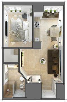 ideas apartment interior design small floor plans for 2019 Studio Apartment Floor Plans, Studio Apartment Decorating, Apartment Interior, Apartment Design, Small Apartment Plans, Small Apartment Layout, Apartment Ideas, Home Design Floor Plans, House Floor Plans