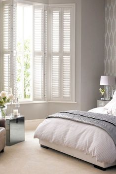 Transform any room in your home with our wide range of beautiful Plantation Shutters! These shutters. Shutters With Curtains, Modern Shutters, Bedroom Shutters, Interior Shutters, Interior Windows, Home Interior, Kitchen Window Coverings, Modern Window Treatments, Custom Made Curtains