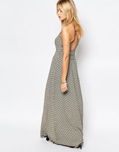 Image 1 of Superdry Slinky Maxi Dress With Cross Back Detail In Ikat Print