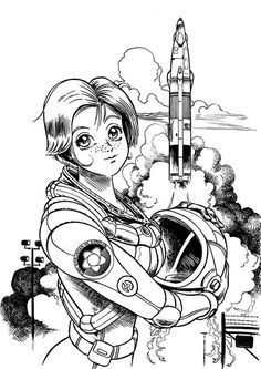 A Beautiful Female Astronaut on the Space Center Coloring Page Space Coloring Pages, Online Coloring Pages, Coloring Sheets, Coloring Books, Outer Space Pictures, Space Anime, Space Center, Free Coloring, Sci Fi