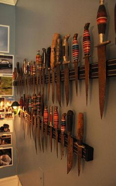 If I had a collection of knives, this is how I would display them!