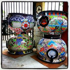 Larger than usual talavera planter pots from Barrio Antiguo $150 each