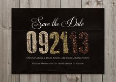 DIY Glittery Save the Date Wedding by GaiaDesignStudios on Etsy, $12.00