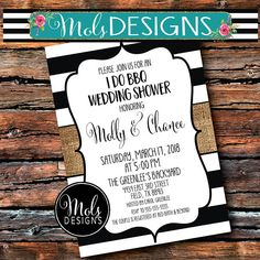 I DO BBQ Black and White Stripe Any Color Burlap Chalkboard