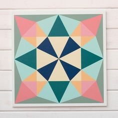 """Looking for a barn quilt to match your love of all things flea market and antique? Look no further than this vintage modern barn block, we call """"Treasure"""". Barn Quilt Designs, Barn Quilt Patterns, Quilting Designs, Block Patterns, Barn Quilts For Sale, Diy And Crafts, Arts And Crafts, Painted Barn Quilts, Barn Signs"""