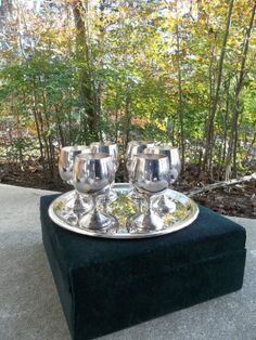 Antique Silver Brandy Glasses Vintage Silver Glasses by misshettie, $78.00