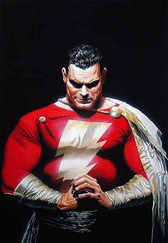 Shazam - Captain Marvel by Alex Ross Comic Book Artists, Comic Book Heroes, Comic Artist, Comic Books Art, Mary Marvel, Captain Marvel Shazam, Arte Dc Comics, Alex Ross, Batman Robin