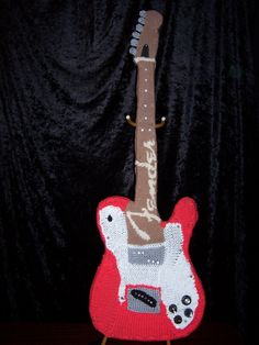 Hard Rock gets a softer side with this Knitted Fender Guitar by fiber artist Sarah Stollack!
