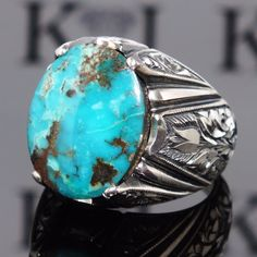 925 Sterling Silver men's ring with Turquoise Firoza unique handcrafted jewelry #KaraJewels #Handmade