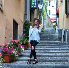 Ripped Jeans, Denim Jacket, Floral Top, Floral Tank, Lace up sandals, Pompom Hat, Summer Style, Spring Style, Summer Fashion, Spring Fashion, Women's Fashion, Travel Outfit, Packing for Europe, What to wear in Europe, What to wear in Italy, Lake Como, Italy, What to wear in Lake Como