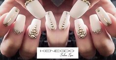 Kenegdo Salon Spa truly stands out for Hair, beauty & more. Gem S, White Nails, Nail Ideas, Salons, Nail Designs, Nail Art, Valentines, Jewels, Gold
