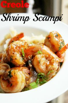 Shrimp Scampi-Creole Contessa - this was too hot and too salty for us…..next time will make my own rub - not use the creole rub - serve over 3 cheese polenta