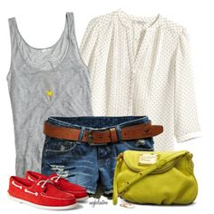 Easy Breezy by angkclaxton on Polyvore featuring H&M, J.Crew, Marc by Marc Jacobs, YooLa and Sperry Top-Sider