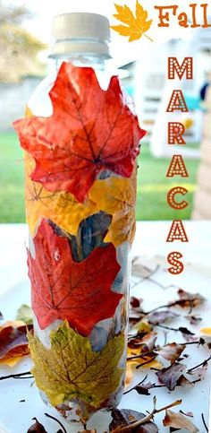 homemade maracas using a recycled water bottle and leaves! Love this idea!!!