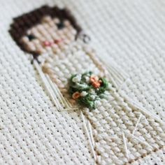 Cross stitch bride and bouquet