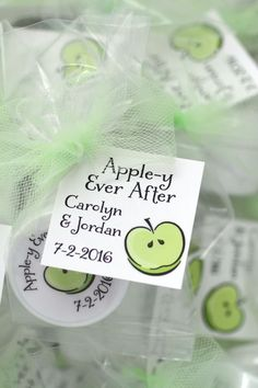 "Appley Ever After favors are not just for apple theme bridal showers. Apple of my Eye baby showers or orchard weddings need apple theme favors, too. With our apple lip balms you can share the unique ""flavor"" of your day. Click to customize the label and tag text to make sweet gifts for any event.  One customer told us, ""I just have to say, they are BEYOND cute!  I can't wait to give these out at our upcoming bridal shower!""  #bridalshower, #partyfavors, #girlsnight, #appletini, #personalized Spa Party Favors, Bachelorette Party Favors, Bridal Shower Favors, Birthday Party Favors, Bridal Showers, Baby Showers, Apple Invitation, This Kind Of Love, Fall Wedding Cakes"