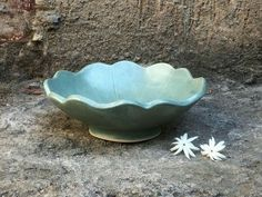 Small ceramic bowl with varying degrees of blue and inner design with glossy green Mother/'s day gift. Very earthy feeling pinch pottery