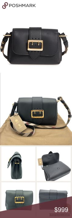 Burberry Small Medley House Check Crossbody A buckled detail at the flap echoes a design element of Burberry's famed trench on a crossbody that beautifully combines smooth and textured leathers.    Magnetic snap-flap closure  Adjustable crossbody strap  Interior zip and wall pockets  Check lining  Calfskin leather  Made in Romania  Designer Handbags    Comes with tags and dust bag  Purchased from a high end department store  Purchase Date: 2018  Retail Price: $1295 plus tax  Metalwork: Gold…