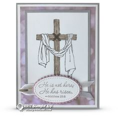 CARD Another gorgeous card from the Stampin Up Easter Messages stamp set. The past couple of days I've been doing a little mini series on this beautiful stamp set. The cross is colored with the ink pads and blender pens. The background paper is the Falling in Love desi