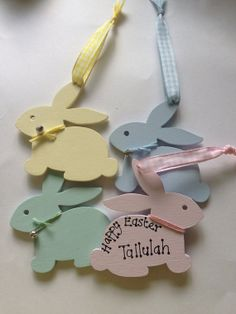 Hand Painted Wooden Bunny perfect gift for Easter by DinkyAngel, £2.75