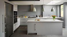A Harvey Jones Linear kitchen design painted in Dulux Grey Steel Open Plan Kitchen Dining, Kitchen Dinning Room, Kitchen Time, Kitchen Living, New Kitchen, Kitchen Decor, Purple Kitchen Cabinets, Kitchen Cabinet Sizes, Kitchen Units