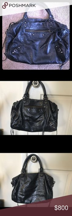 Authentic Balenciaga Black Lambskin Bag Black crinkle leather lambskin bag. Would POSSIBLY be open to trading for Gucci small cross body or Stella McCartney. Balenciaga Bags Satchels