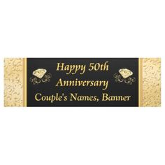 Shop Personalized Anniversary Banner, Black, Gold Banner created by LittleLindaPinda. Anniversary Banner, Wedding Anniversary Celebration, Gold Banner, Outdoor Banners, Word Out, Outdoor Events, Black Gold, Birthdays, Personalized Items
