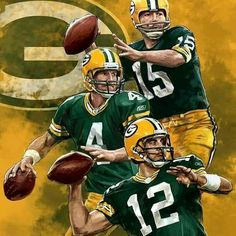 Green Bay Packers Photo: Bart Starr, Aaron Rodgers, and Brett Favre - Green Bay Packers Fans, Green Bay Packers Wallpaper, Go Packers, Packers Football, Nfl Green Bay, Football Art, Football Memes, Greenbay Packers, Packers Memes