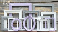 Baby Girl Nursery / Purple Picture Frames / Shabby Chic Decor / Big Girl's Room / Distressed Picture Frame Set / Benson Collection
