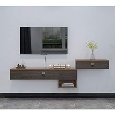 Wall-Mounted TV Cabinet Wall Shelf with Drawers Floating Shelf Set Top Box Router Sky Box Storage Shelf Toy Photo Display Cabinet TV Stand (Color : Walnut Color) Floating Computer Desk, Computer Workstation Desk, Desk Wall Unit, Laptop Desk, Mirror Unit, Wall Tv, Floating Tv Cabinet, Small Tv Cabinet, Tv Cabinet Design